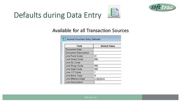 Data Entry Defaults